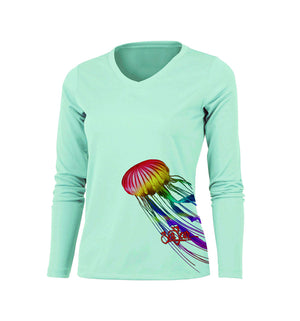 Jellyfish (Side Wrap) Long Sleeve V-Neck Performance Tee