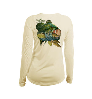 Large Mouth Bass Long Sleeve V-Neck Performance Tee