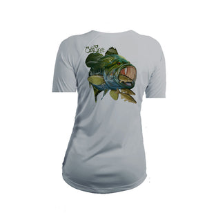 Large Mouth Bass Short Sleeve V-Neck Performance Tee