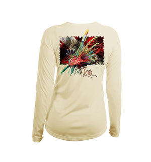 Lionfish Dive Flag Long Sleeve V-Neck Performance Tee