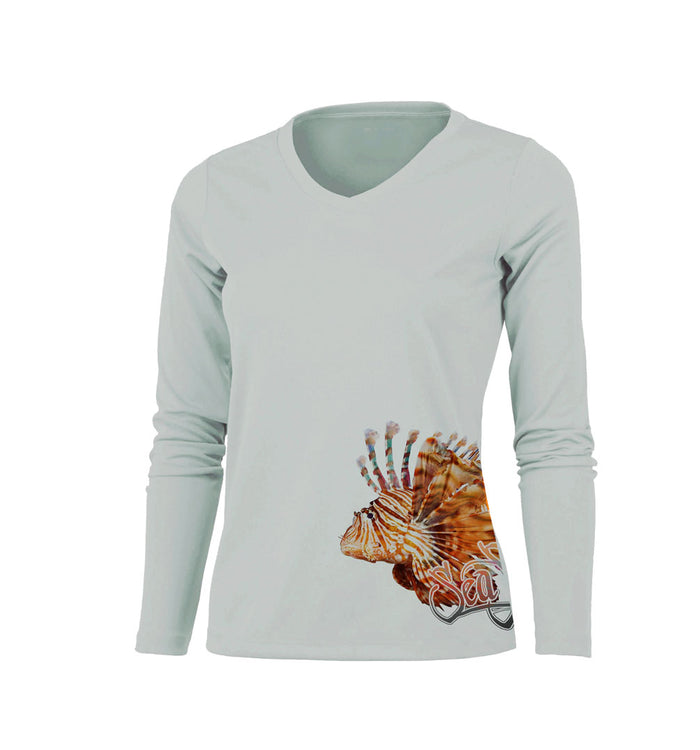 Lionfish (Side Wrap) Long Sleeve V-Neck Performance Tee