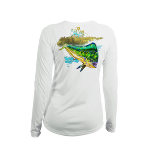 Mahi Mahi Long Sleeve V-Neck Performance Tee