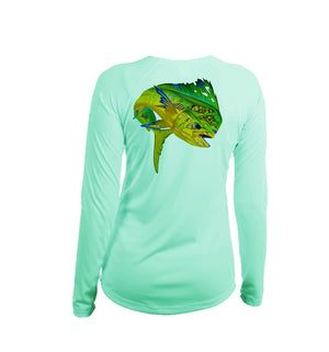 Mahi Sea Fear Long Sleeve V-Neck Performance Tee