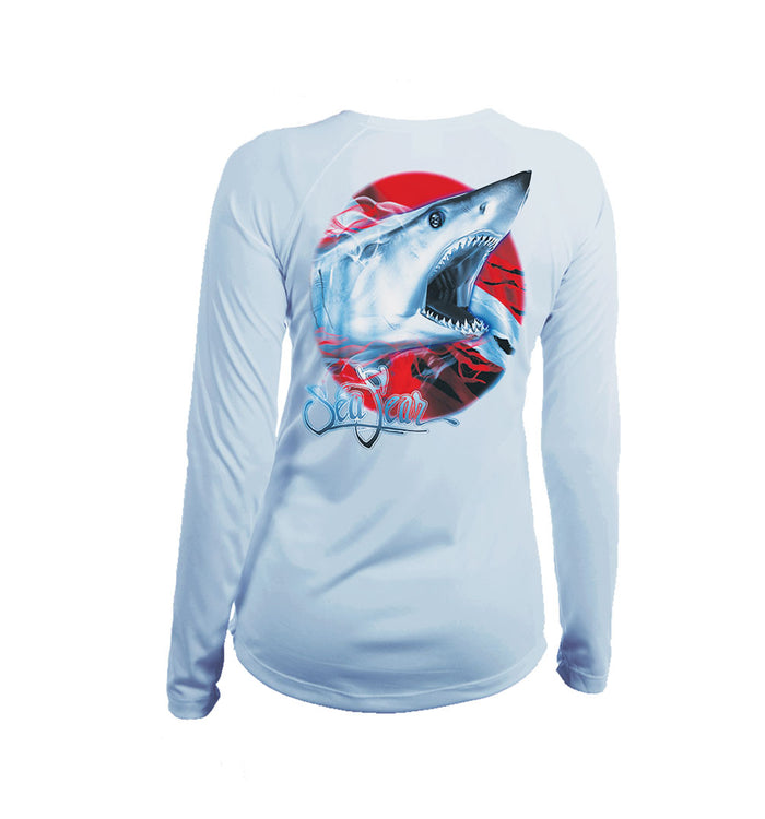 Mako Flag Long Sleeve V-Neck Performance Tee
