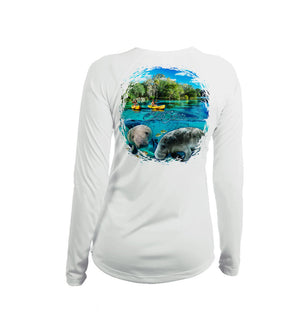 Manatee Kayak Long Sleeve V-Neck Performance Tee