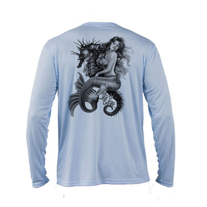 Mermaid Seahorse Long Sleeve Performance Tee