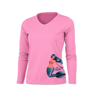 Mermaid Side Print Long Sleeve V-Neck Performance Tee