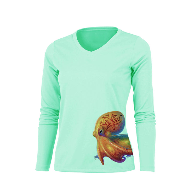 Octo Coco (Side Wrap) Long Sleeve V-Neck Performance Tee