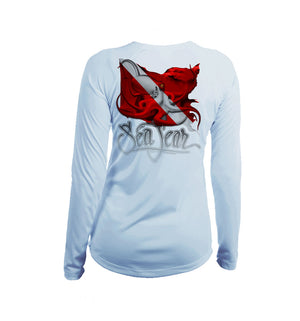 Octo Dive Flag Long Sleeve V-Neck Performance Tee