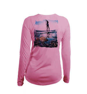 Paddlerboarder (Turtle) Long Sleeve V-Neck Performance Tee