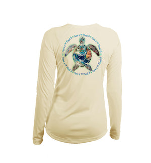 Turtle Planet B Long Sleeve V-Neck Performance Tee