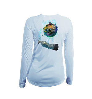 Pufferfish Long Sleeve V-Neck Performance Tee