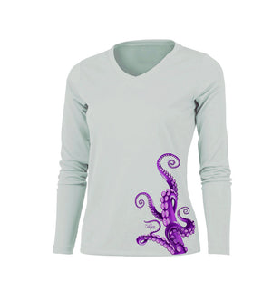 Octo Legs Purple Long Sleeve V-Neck Performance Tee