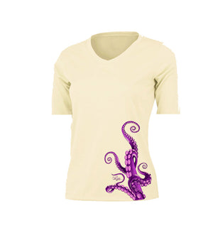 Octo Legs Purple Short Sleeve V-Neck Performance Tee