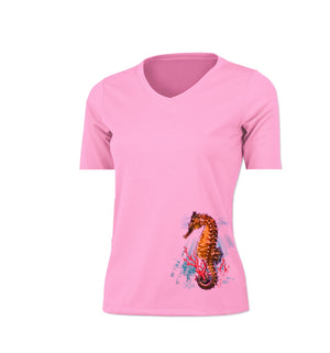 Seahorse Reef (Color) Short Sleeve V-Neck Performance Tee