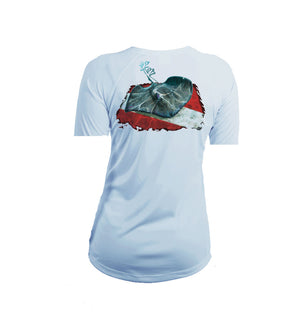 Stingray Dive Flag Short Sleeve V-Neck Performance Tee