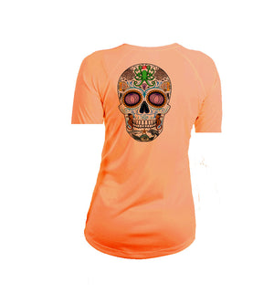 Sugar Skull Short Sleeve V-Neck Performance Tee