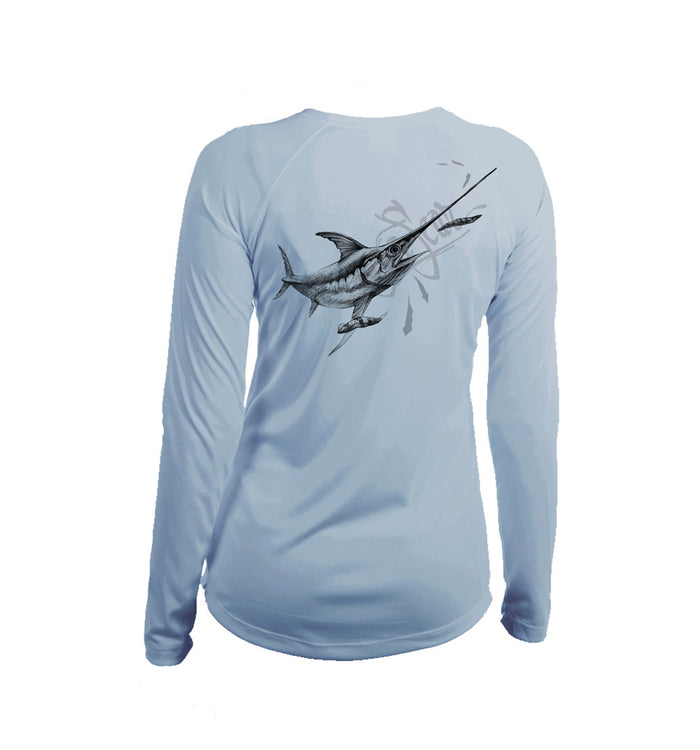 Swordfish Long Sleeve V-Neck Performance Tee