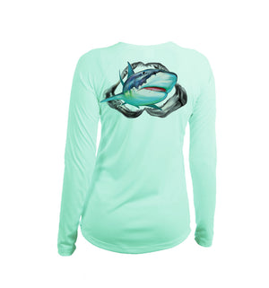 Tiger Shark Long Sleeve V-Neck Performance Tee