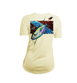 Tuna Dive Flag Short Sleeve V-Neck Performance Tee