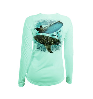 Whale Shark Long Sleeve V-Neck Performance Tee
