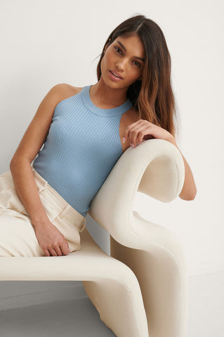Ribbed High Neck Cropped Knitted Singlet