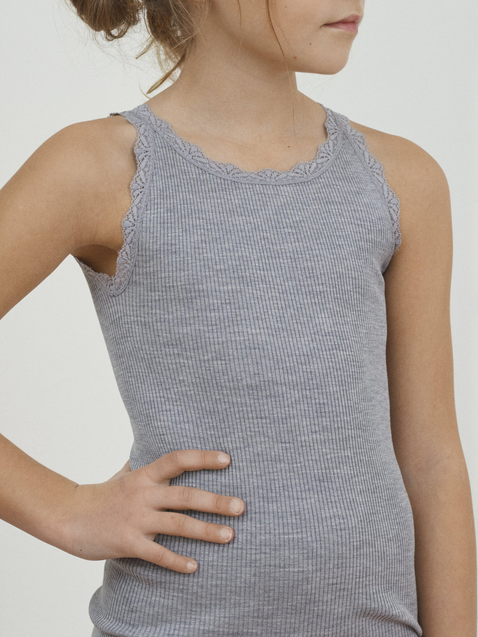 LACE TOP FOR GIRLS, LIGHT GREY MELANGE