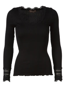 ROSEMUNDE LACE BLOUSE IN SILK MIX WITH ROUND NECK
