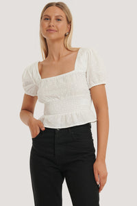 Square Neck Cropped Blouse