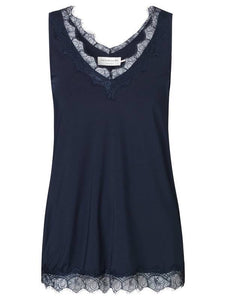 ROSEMUNDE TOP WITH SIMPLE LACE NAVY
