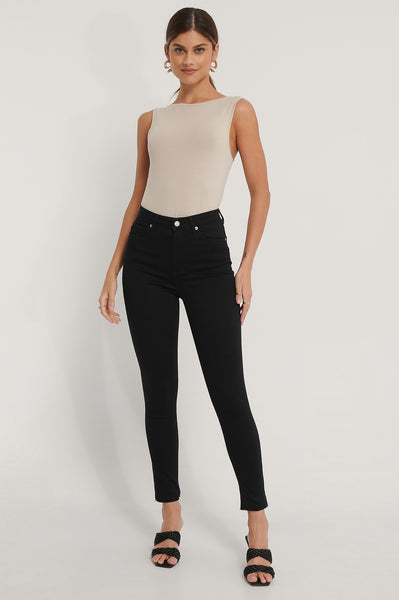 Organic Skinny High Waist Open Hem Jean- Black