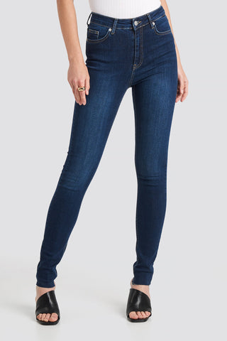 Skinny High Waist Raw Hem Jeans Tall