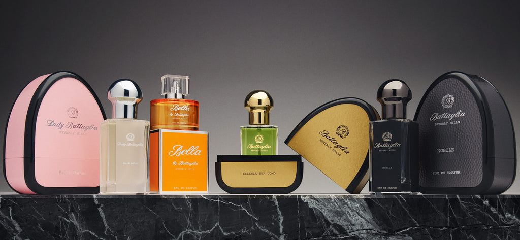 Battaglia Beverly Hills fragrances and cologne. Nobile, Essenza per Uomo, Lady Battaglia, Bella by Battaglia.