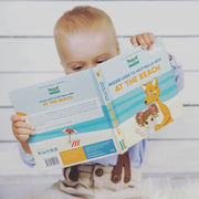 Mizzie The Kangaroo Baby Board Book Educational Toy At the Beach with baby