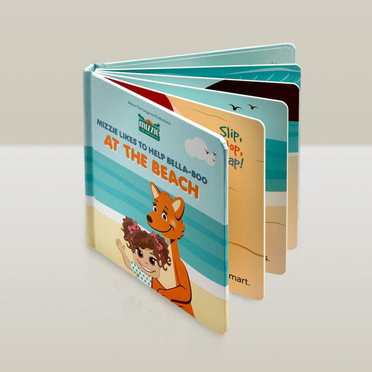 Mizzie The Kangaroo At the Beach Baby Board Book Educational Toy
