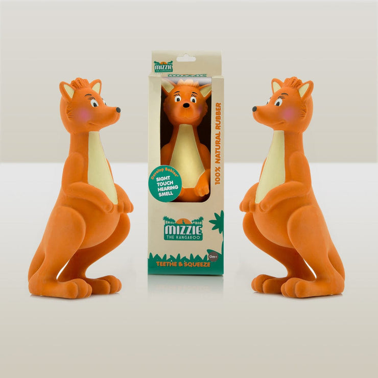 Mizzie The Kangaroo 100% Natural Rubber Teething Toy in Box