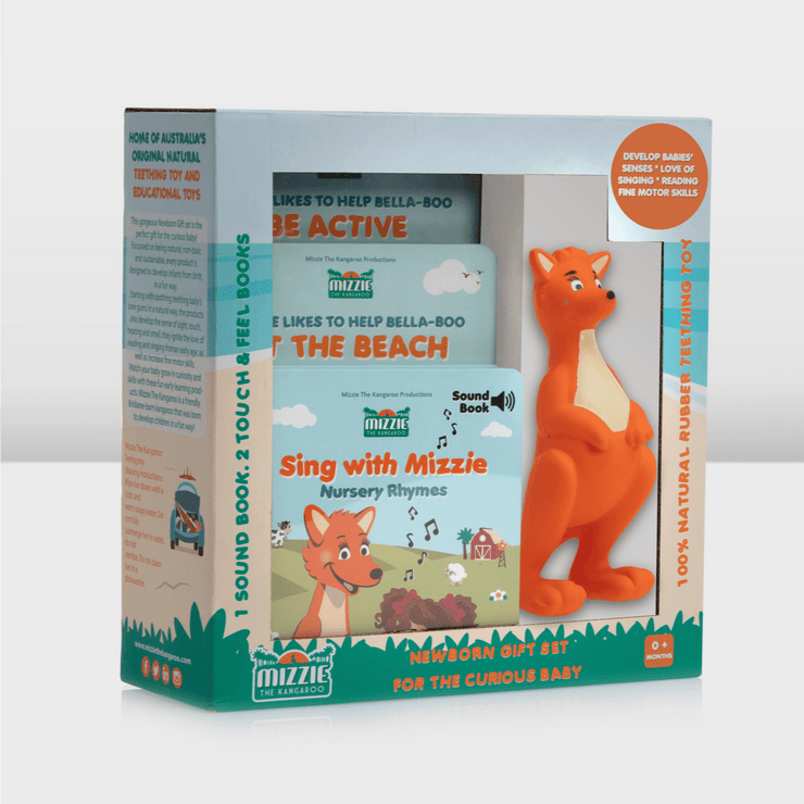 Mizzie the Kangaroo Newborn Gift Pack for the Curious Baby front angled view