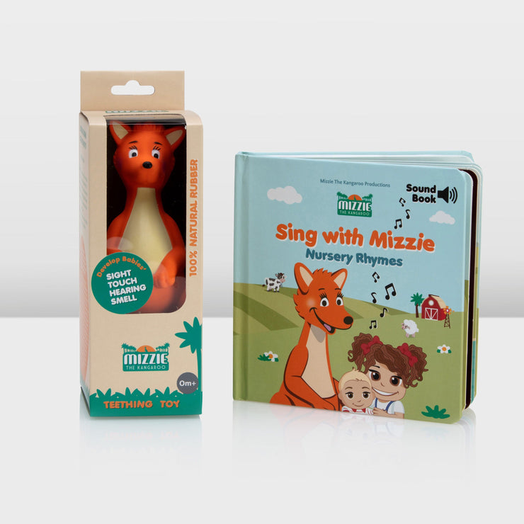 Mizzie The Kangaroo Gift Set with sound book 'Sing with Mizzie' and teething toy