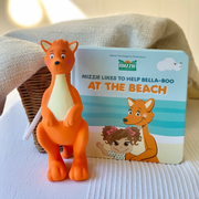 Baby Board Book Gift Set with At the beach book and Mizzie Teething Toy