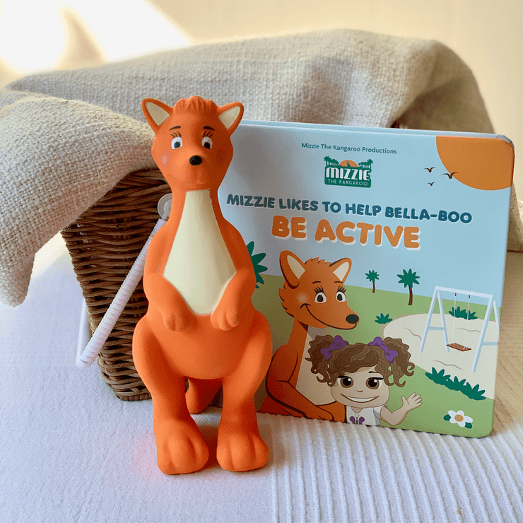Mizzie The Kangaroo Baby Board Book Gift Set With Teething Toy