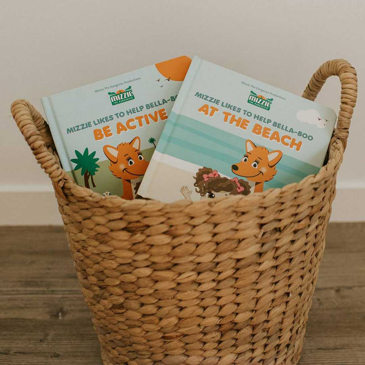 Basket with Mizzie Interactive 'Touch and Feel' Baby Board Books At the Beach and Be Active