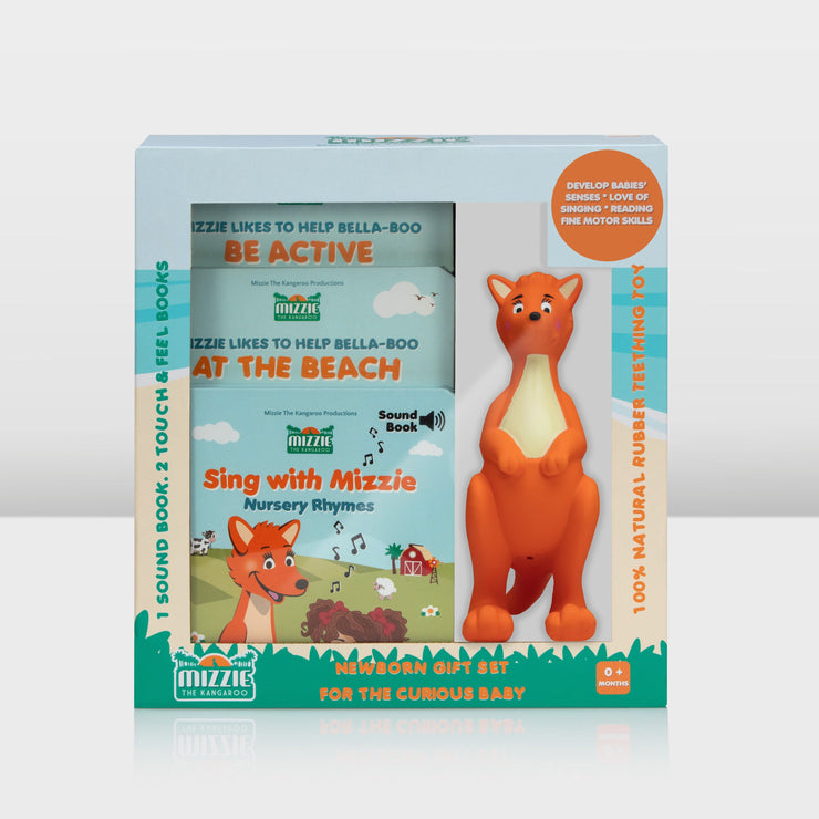 Mizzie the Kangaroo Newborn Gift Pack for the Curious Baby front view