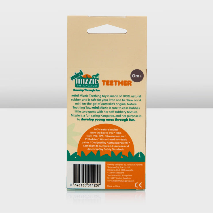Mini Mizzie Teething Toy in box back side view