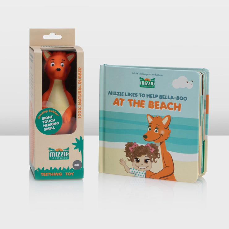 Baby Board Book Gift Set with Mizzie Teething Toy and At the Beach Book