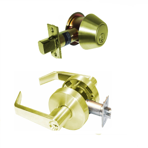 Grade 2 Cylindrical Lever DL-LSV & DB700 Series Deadbolt Combo (Bright Brass) -  Pro-edge HD