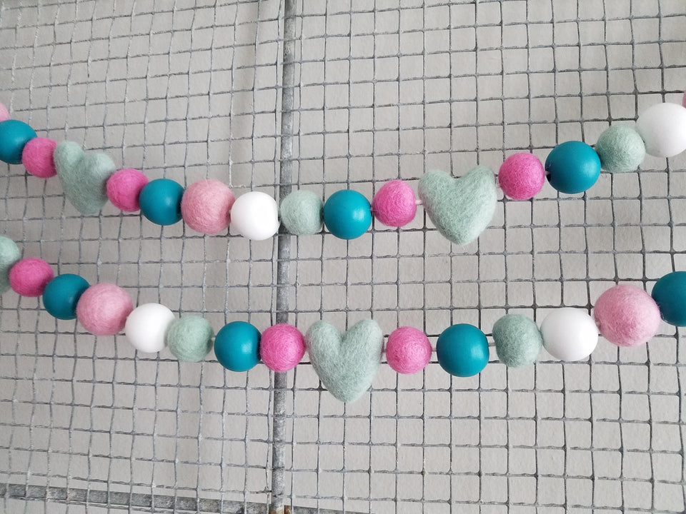 Valentine garland, pink and turquoise. 5ft