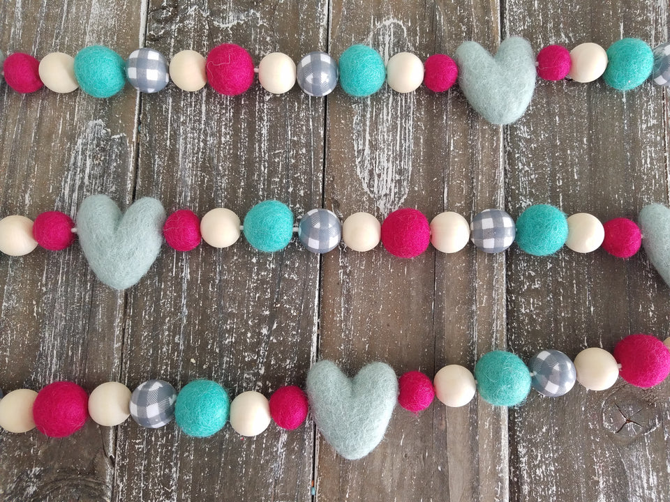 Valentines heart garland. Mint, pink and gray plaid. 5.5 ft. Heart decor.