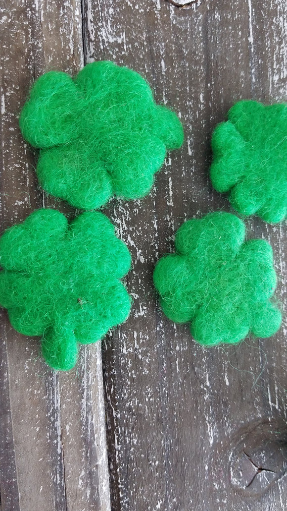 Felt shamrocks. St. Patrick's day clovers. 5 pieces