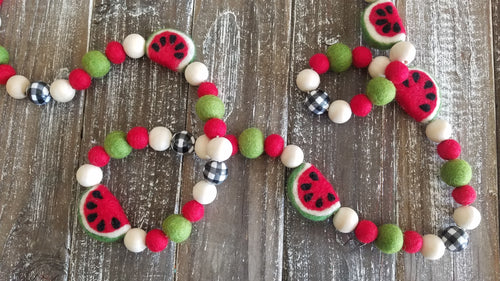 Watermelon and plaid garland. 5ft
