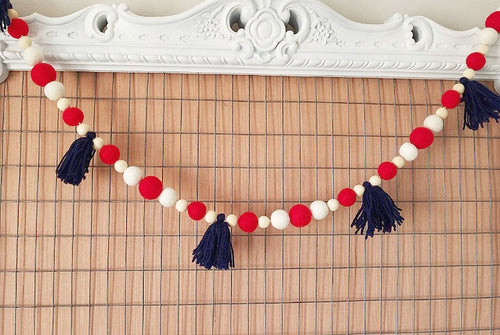 4th of July garland, red white and blue garland. 5ft